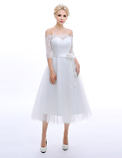 A-line Wedding Dress Tea-length Strapless Lace with Flower