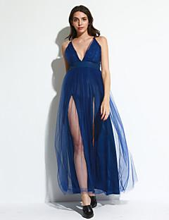 קיץ פוליאסטר כחול ללא שרוולים מקסי כתפיה אחיד סקסי / פשוטה מסיבה\קוקטייל / מועדונים שמלה נדן נשים,גיזרה בינונית (אמצע) מיקרו-אלסטיבינוני