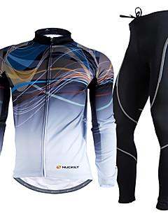 NUCKILY® Calça com Camisa para Ciclismo Homens Manga Comprida MotoRespirável Térmico/Quente Resistente Raios Ultravioleta Tapete 3D