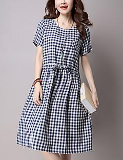 קיץ כותנה פשתן כחול שחור שרוולים קצרים עד הברך צווארון עגול משובץ דמקה סגנון רחוב יום יומי\קז'ואל שמלה משוחרר נשים,גיזרה בינונית (אמצע)