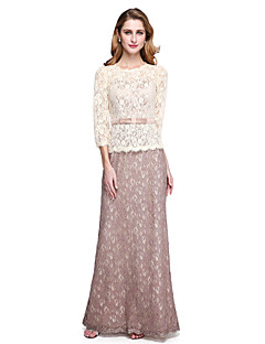 2017 Lanting Bride® Sheath / Column Mother of the Bride Dress - Elegant Color Block Floor-length 3/4 Length Sleeve Lace withSash / Ribbon