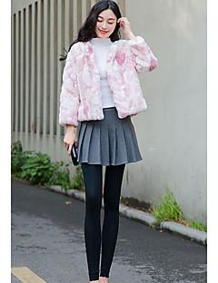 Feminino Casaco Para Noite Casual Fofo Primavera Outono, Sólido Rosa Cinza Pêlo Sintético Colarinho Chinês-Manga Longa Grossa