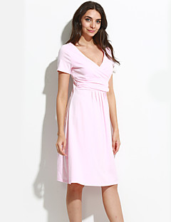 High Quality Women V Neck Pleated Maternity Dress , Cotton / Polyester Knee-length Short Sleeve Plus Size