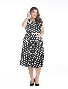Kadın Büyük Beden Sokak Şıklığı Çan Elbise Yuvarlak Noktalı,Kolsuz Yuvarlak Yaka Diz-boyu Asimetrik Siyah Splandeks Bahar Yüksek Bel