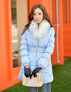 ארוך מעיל פוך מעיל נשים,אחיד חמוד סגנון רחוב מתוחכם ליציאה יום יומי\קז'ואל חג פוליאסטר נוצות ברווז לבנות-שרוול ארוך דש קלאסי כחול