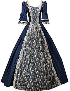한 조각/드레스 고딕 로리타 클래식/전통적 롤리타 빈티지 스타일 우아한 빅토리안 로코코 프린세스 코스프레 로리타 드레스 솔리드 긴소매 긴 길이 드레스 용 면 레이스