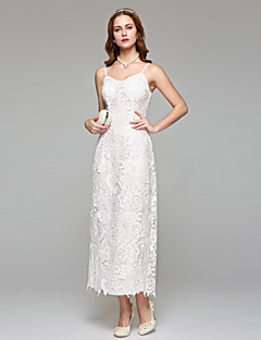 Sheath / Column Wedding Dress Simply Sublime Tea-length Spaghetti Straps Lace with Lace