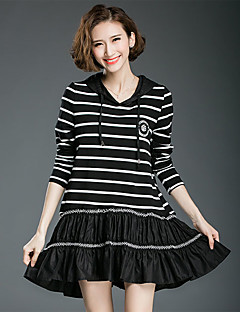 Women's Going out Casual/Daily Simple Spring Fall T-shirt,Striped Hooded Long Sleeve Black Cotton Spandex Opaque Medium