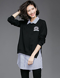 Women's Casual/Daily Simple Summer Fall Set,Solid Round Neck Long Sleeve Black Cotton Medium