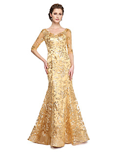 LAN TING BRIDE Trumpet / Mermaid Mother of the Bride Dress - Sparkle & Shine Floor-length Half Sleeve Sequined with Sequins Pleats
