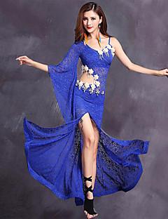 Χορός της κοιλιάς Γυναικεία Επίδοση Δαντέλα Βισκόζη Δαντέλα 2 Κομμάτια 3/4 Μήκος Μανικιού Φόρεμα Κοντά Παντελονάκια