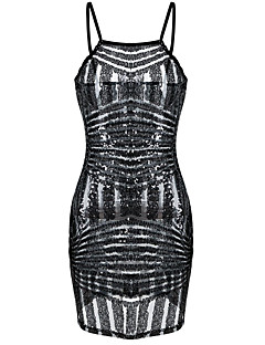 Women's Sequin  Bodycon Sequin Dress Spaghetti Strap Sleeveless Sheer Clubwear Party Mini Dress