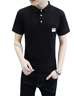 Men's Plus Size Casual/Daily Beach Vintage Street chic Active Summer Polo,Solid Shirt Collar Short Sleeve White Black Gray Cotton Medium