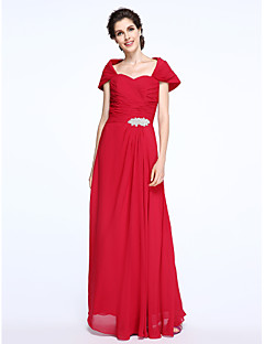 LAN TING BRIDE Sheath / Column Mother of the Bride Dress - Elegant Floor-length Short Sleeve Chiffon withCriss Cross Crystal Brooch