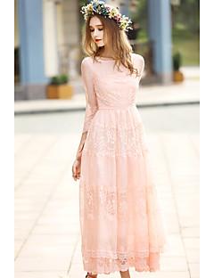 Dame Boheme I-byen-tøj Ferie Bodycon Kjole Ensfarvet,Rund hals Midi 1/2 ærmelængde Rosa Polyester Forår Alm. taljede Uelastisk Medium