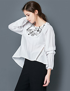 EWUS/Women's Going out Casual/Daily Simple All Seasons T-shirtSolid Round Neck Long Sleeve White Cotton Polyester Thin