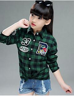 Girl Casual/Daily Check Shirt,Rayon Summer Spring Fall Long Sleeve Long