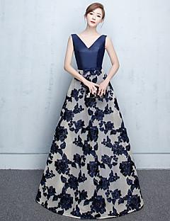 aラインvネックフロアレングスジャージーフォーマルイブニングドレス(sash / ribbon)