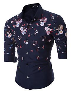 Herren Blumen Einfach Street Schick Ausgehen Lässig/Alltäglich Arbeit Hemd,Klassischer Kragen Frühling Herbst Langarm Blau Schwarz