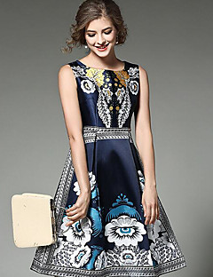 Women's Going out Casual/Daily Party/Cocktail Sexy Simple A Line Dress,Solid Print Round Neck Above Knee Sleeveless Polyester BlueAll