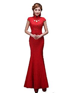 클래식/전통적 롤리타 빈티지 스타일 우아한 코스프레 로리타 드레스 프린트 짧은 소매 긴 길이 드레스 에 대한 테릴린