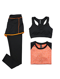 Women's Short Sleeve Running Sports Bra Clothing Sets/Suits Breathable Quick Dry Sports Wear Yoga Exercise & Fitness RunningModal