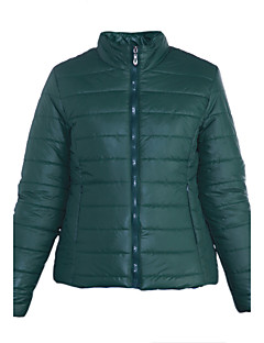 Famous Brand Design Women's Regular Padded CoatSimple Casual/Daily Solid-Polyester Polyester Long Sleeve Stand Red / Green