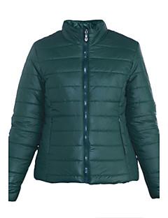 Dámské Standardní S vycpávkou Jednoduché Běžné/Denní Jednobarevné-Kabát Polyester Polyester Dlouhý rukáv Stojáček Červená / Zelená