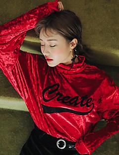 T-shirt Da donna Casual Sensuale Moda città Primavera Autunno,Con stampe A collo alto Poliestere Rosso Nero Manica lunga Medio spessore