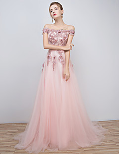 Formal Evening Dress A-line Off-the-shoulder Floor-length Tulle with Beading