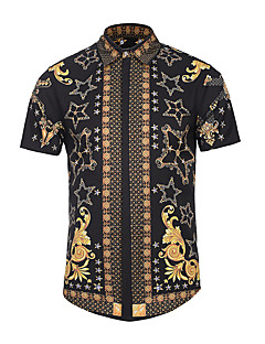 Men's Casual/Daily Simple Summer Shirt,Print Shirt Collar Short Sleeves Polyester