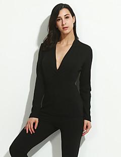 Vrouwen Sexy / Eenvoudig / Street chic Lente / Herfst T-shirt,Uitgaan / Casual/Dagelijks Effen V-hals Lange mouw Zwart / Paars Polyester