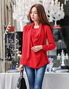 Feminino Blusa Para Noite Casual Festa/Coquetel Simples Moda de Rua Sofisticado Primavera Outono,Sólido Vermelho Poliéster Decote Redondo
