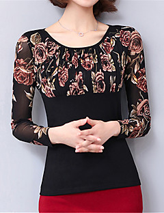 Feminino Camiseta Casual Tamanhos Grandes Moda de Rua Primavera Outono,Floral Azul Vermelho Marrom Poliéster Decote Redondo Manga Longa