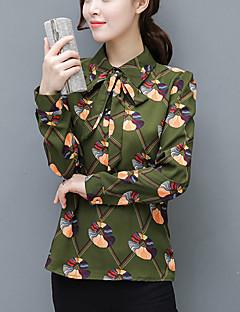 Camicia Da donna Taglie forti Per uscire Semplice Primavera Autunno,A quadri Colletto Poliestere Beige Verde Manica lunga Medio spessore