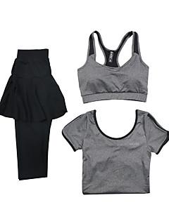 Mulheres Manga Curta Corrida Sutiã Esportivo Conjuntos de Roupas/Ternos Respirável Secagem Rápida Moda EsportivaIoga Exercício e