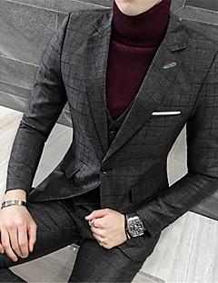 Herren Druck Einfach Arbeit Party/Cocktail Blazer,Hemdkragen Winter Langarm Standard Baumwolle Polyester