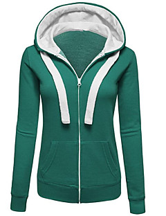 Women's Casual/Daily Sports Going out Simple Street chic Hoodie Solid Round Neck Micro-elastic Polyester Long Sleeve Spring Fall