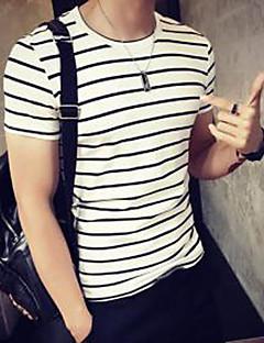 남성의 면 줄무늬 짧은 소매 캐쥬얼 / 스포츠 티셔츠-화이트