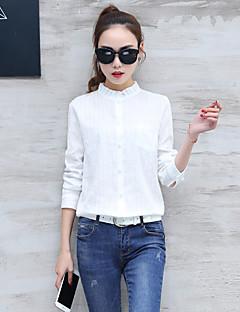 Feminino Camisa Social Casual Formal Trabalho Simples Sofisticado Primavera Outono,Sólido Branco Algodão Raiom Poliéster Gola Redonda