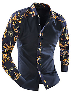 Men's Casual/Daily Simple Spring Fall Shirt,Print Classic Collar Long Sleeves Cotton