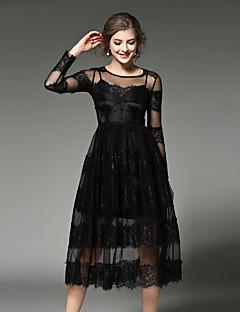 כל העונות כותנה פוליאסטר שחור אורך שרוול ¾ מידי צווארון עגול טלאים וינטאג' סגנון רחוב מתוחכם ליציאה מסיבה\קוקטייל חג שמלה תחרה נשים,גיזרה
