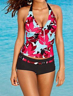 Women's Bandeau Tankini,Floral Spandex Red