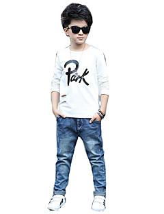 Gutt Fritid/hverdag T-skjorte Trykt mønster Bomull Rayon Vår Langermet