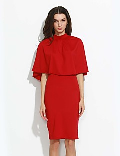 Women's Formal Sexy Spring / Fall T-shirt Skirt Suits,Geometric Crew Neck Sleeveless Red / Black / Brown Cotton / Polyester Medium