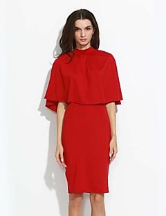 Bomull / Polyester Rød / Sort / Brun Medium Ermeløs,Crew-hals T-skjorte Skjørt Drakter Geometrisk Vår / Høst Sexy Formelle Dame