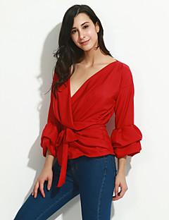 Damen Solide / Gestreift Sexy / Street Schick Lässig/Alltäglich Hemd,V-Ausschnitt Alle Saisons ¾-Arm Blau / Rot / WeißKunstseide /