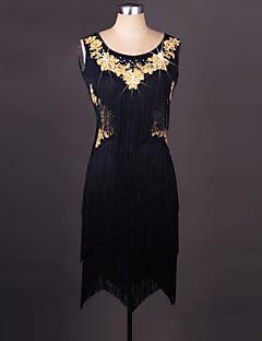 라틴 댄스 드레스 여성용 성능 스판덱스 오르간자 자수 술 1개 민소매 드레스 80-85,80-85,80-85,80-85,80-85
