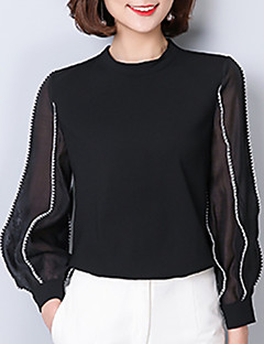 Women's Wedding Formal Work Simple Cute Fall Shirt,Solid Round Neck Long Sleeve White Black Others
