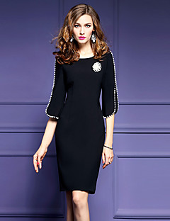 Women's Plus Size Going out Street chic Shift Dress,Solid Round Neck Knee-length ½ Length Sleeve Polyester Black Spring Mid Rise Inelastic